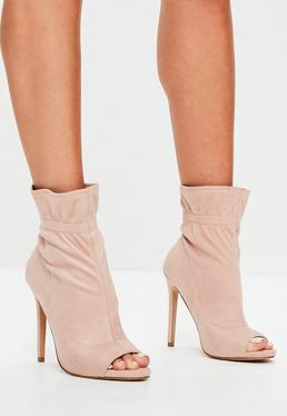Nude Faux Suede Peep Toe Ankle Boots