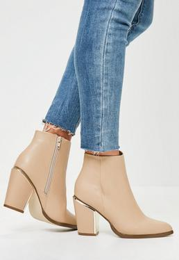 Nude Gold Trim Block Heeled Boots