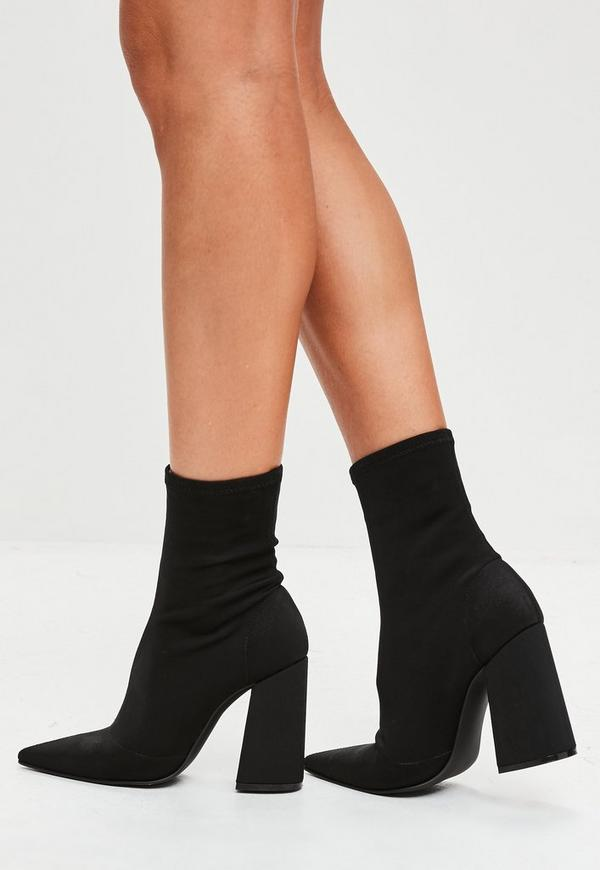 Black Flared Heel Sock Boots Missguided