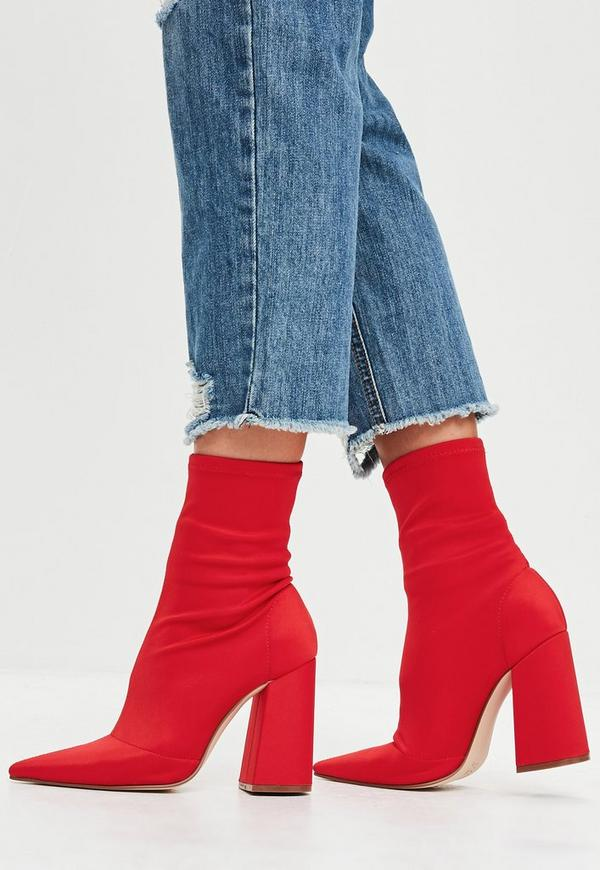 Red Flared Heel Sock Boots Missguided