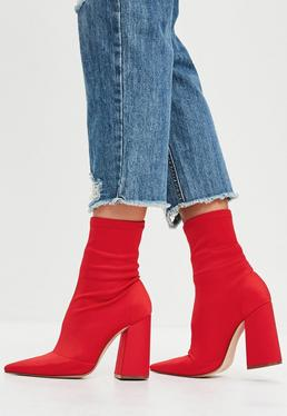 Red Flared Heel Sock Boots