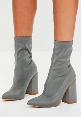 Grey Block Heel Pointed Neoprene Boots