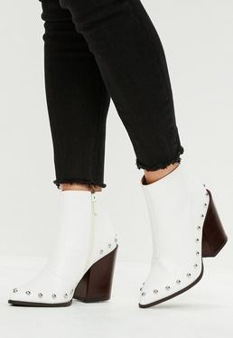 White Faux Leather Western Boots