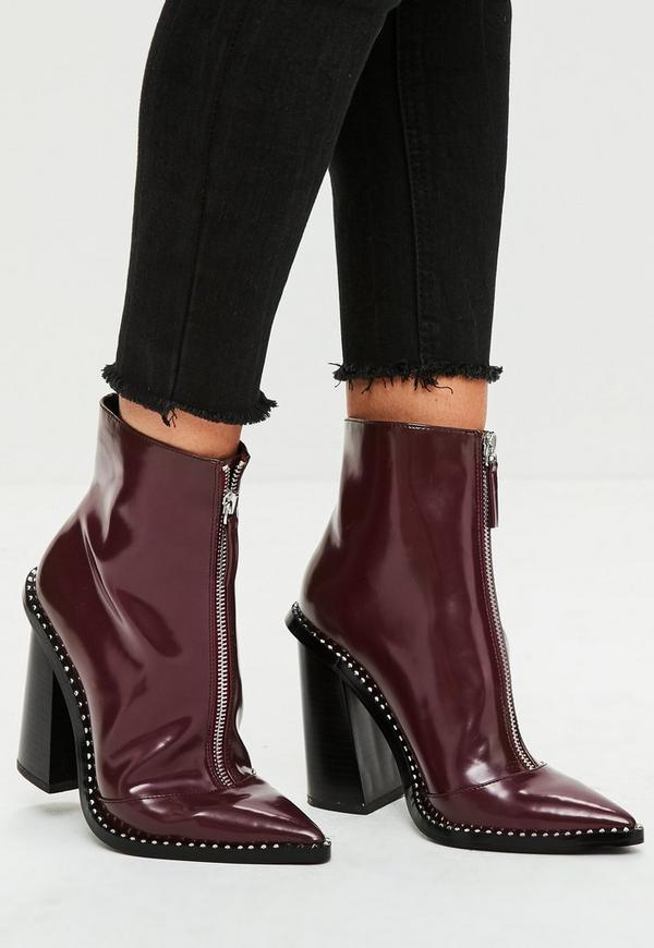 Burgundy Front Zip Pointed Ankle Boots Missguided