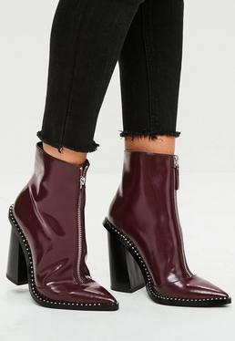Burgundy Front Zip Pointed Ankle Boots