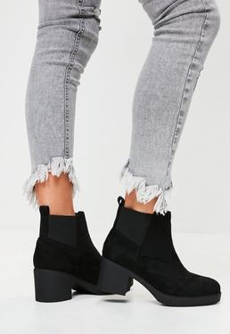 Black Chelsea Faux Suede Ankle Boots
