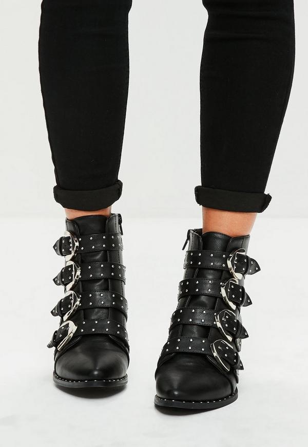 schwarze schnallen ankle boots mit nieten missguided. Black Bedroom Furniture Sets. Home Design Ideas