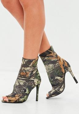 Khaki Leaf Print Neoprene Ankle Boot