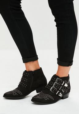 Black Faux Suede Four Buckle Ankle Boots