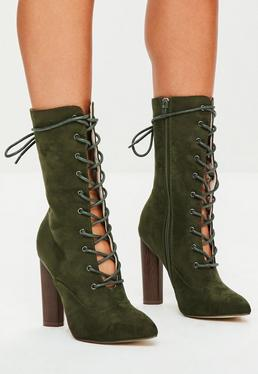 Khaki Pointed Heeled Boots
