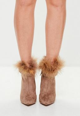 Tan Feather Pointed Ankle Boots