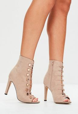 Nude Faux Suede Lace Up Ankle Boots