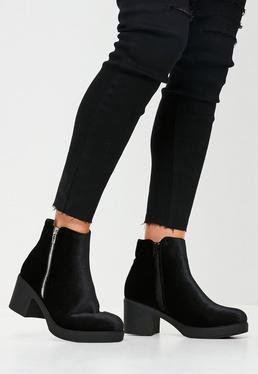 Black Velvet Ankle Boots