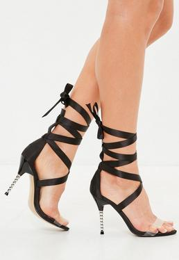 Black Feature Heel Satin Wrap Sandal