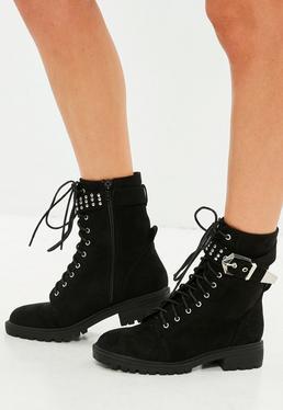 Black Buckle Cuff Biker Boots
