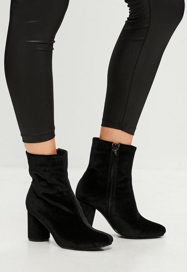 schwarze samt ankle boots missguided. Black Bedroom Furniture Sets. Home Design Ideas