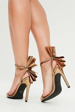 Gold Fan Detail Barely There Heels