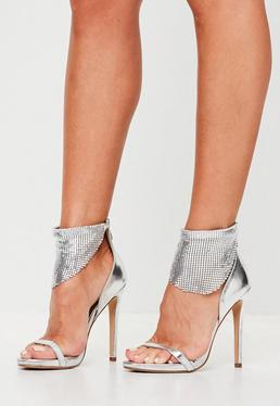 Silver Barely There Sandals