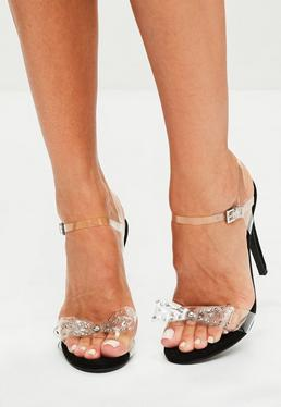 Black Clear Bow Strappy Sandals