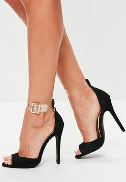 Black Clear Strap Shimmer Barely There Heels