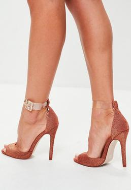 Orange Clear Strap Barely There Heels