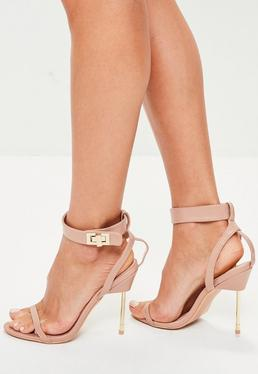 Nude Pink Heel Padlock Barely There Sandals