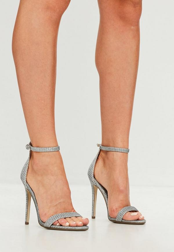 Silver Glitter Two Strap Barely There Heels Missguided