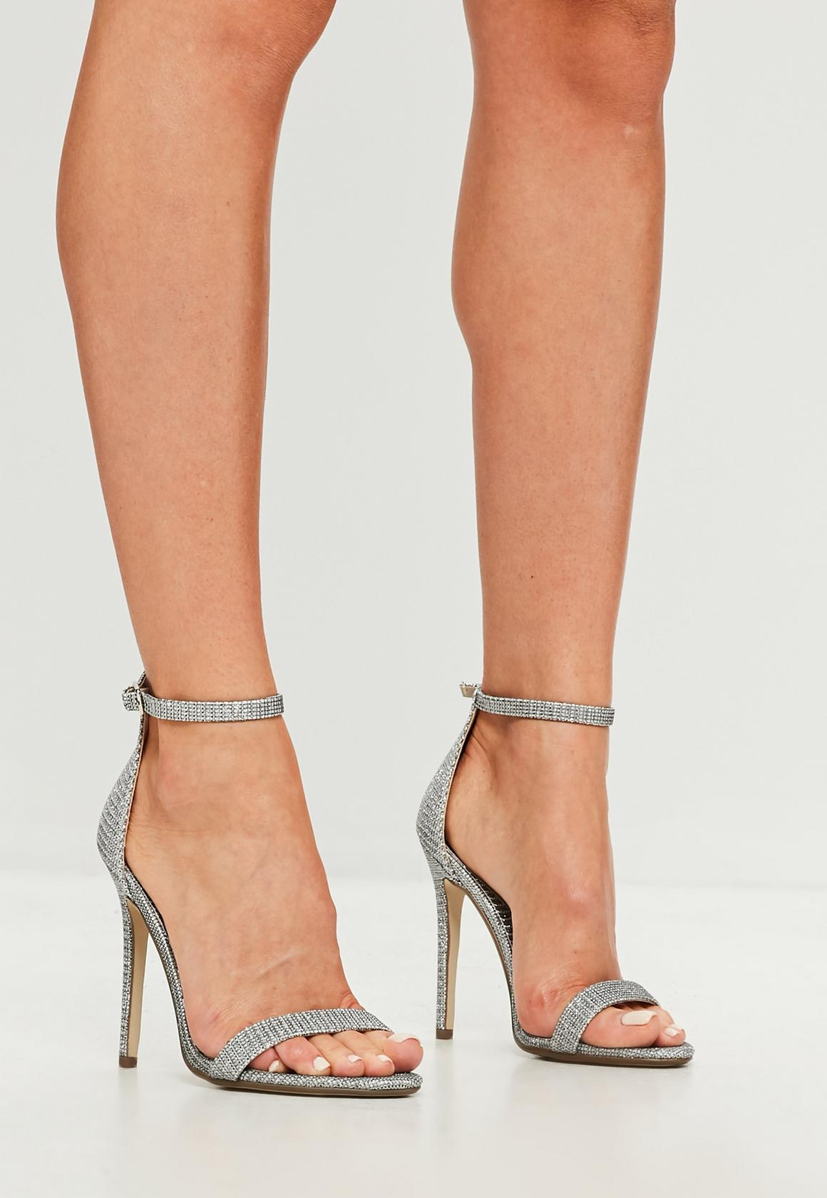 Silver Glitter Two Strap Barely There Heels | Missguided