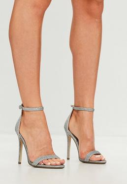 Silver Glitter Two Strap Barely There Heels