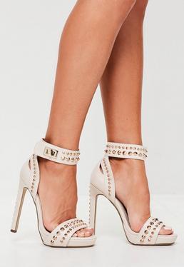 Nude Studded Heel Platform Sandals