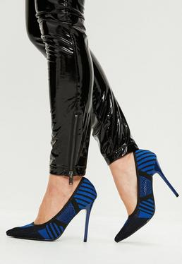 Blue Knitted Court Shoes