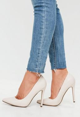 Cream Faux Leather Court Shoes