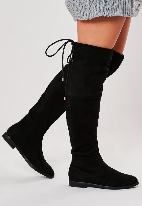 de55be83574 ... Black Over The Knee Flat Boots. Previous Next