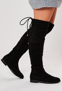 Botas planas hasta la rodilla en negro