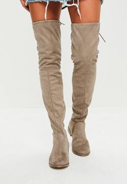 Taupe Rounded Toe Flat Over The Knee Boots