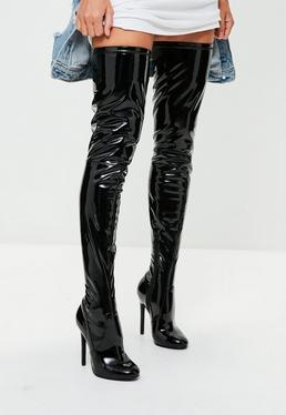 Black Vinyl Thigh High Boots