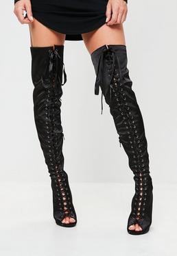 Black Satin Lace Up Thigh Boots