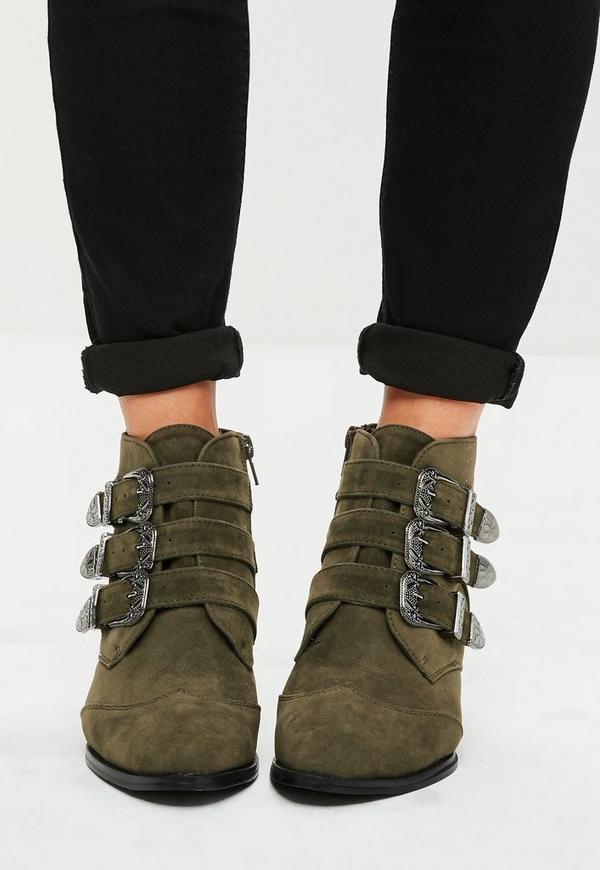 khaki faux wildleder ankle boots mit schnallen missguided. Black Bedroom Furniture Sets. Home Design Ideas