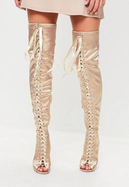 Nude Satin Lace Up Thigh Boots