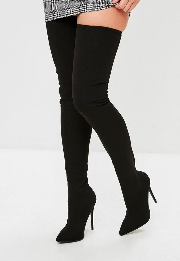 black pointed stretch thigh high boots missguided