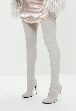 Gray Pointed Stretch Thigh High Boots