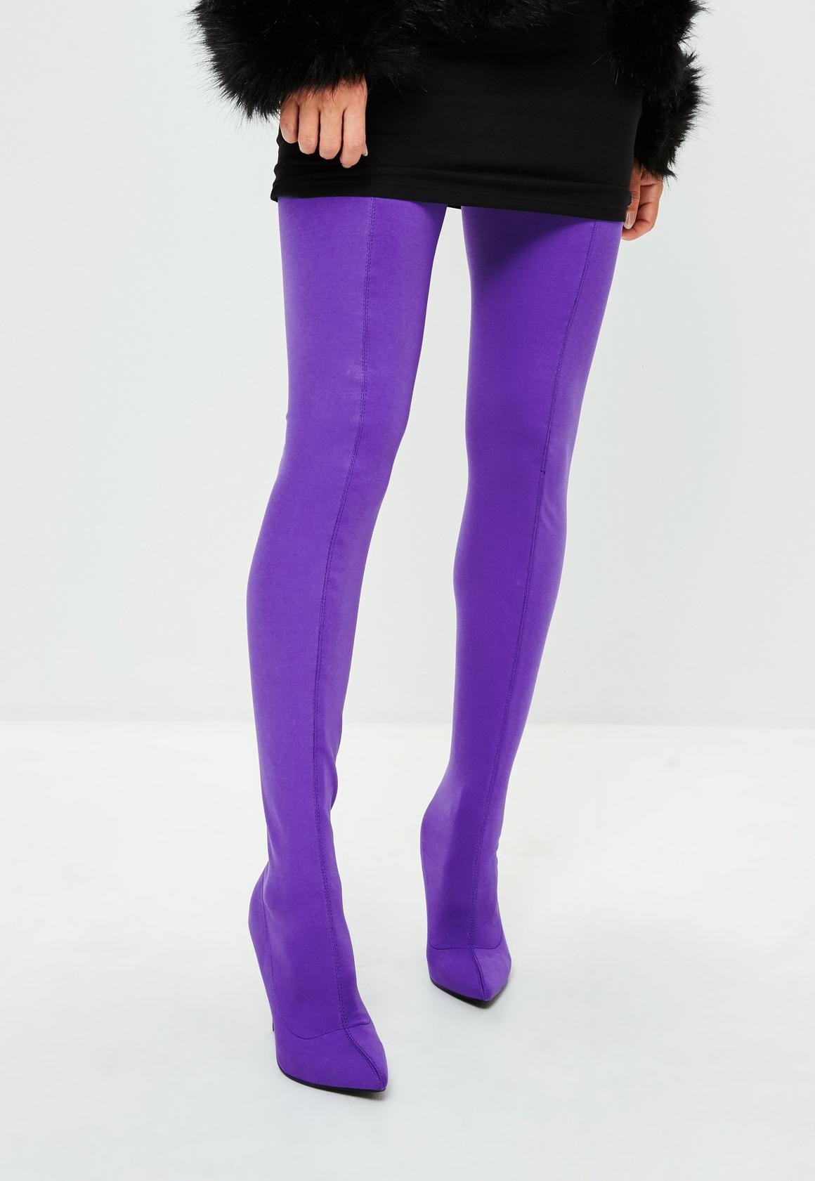 Image result for purple thigh high boots