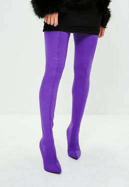 Purple Stiletto Thigh High Boots