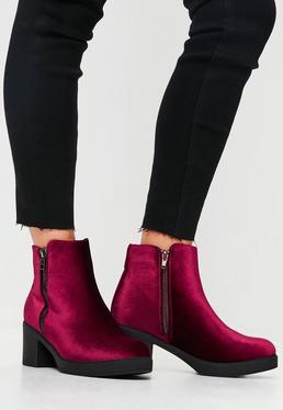 Burgundy Velvet Ankle Boots