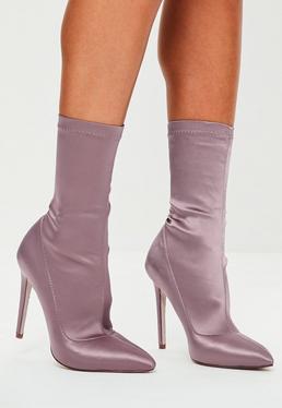 Purple Pointed Satin Stiletto Boots