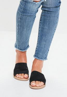Black Leather Slip On Sandals