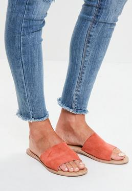 Pink Leather Slip On Sandals