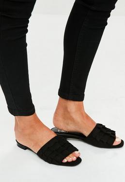 Black Frill Slip On Sandals