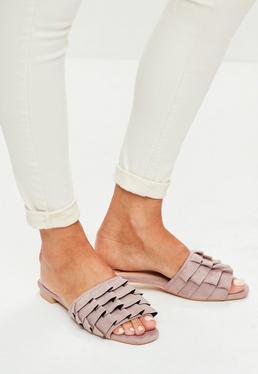 Purple Frill Slip On Sandals