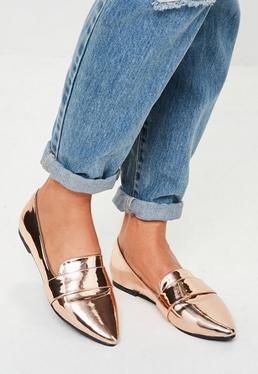Rose Gold Metallic Pointed Loafers